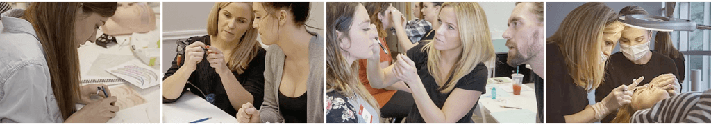 Students learning Hair Stroke Eyebrows and Shading at 3D BROWS ACADEMY, Utah