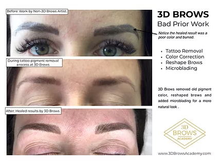 Microblading Color Correction and Shaping Before and After - 3D BROWS ACADEMY, Utah