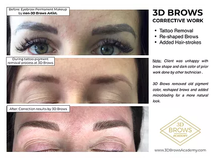 Microblading Correction Before and After - 3D BROWS ACADEMY, Utah