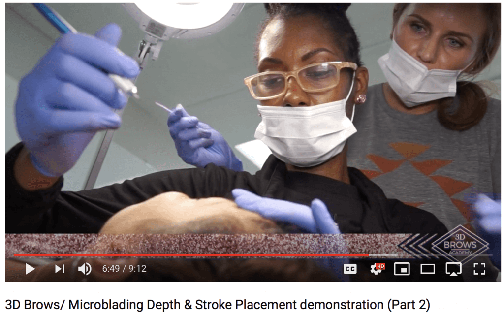 Microblading Depth and Stroke Placement Demonstration at a Microblading Class in Utah