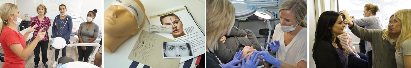 Multiple Images Where Students Practice their Microblading Training On Synthetic & Live Models